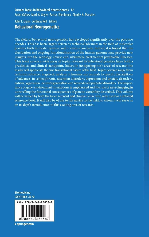 Behavioral Neurogenetics: 12 (Current Topics in Behavioral Neurosciences)
