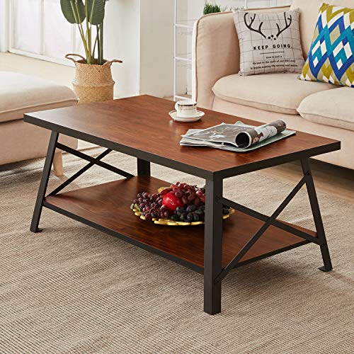 VECELO Vintage Coffee Table for Living Room,Rustic Cocktail Table with Storage Open Shelf, Black Metal Frame Brown