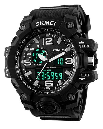 carlien Hombres de 50 m resistente al agua analógico, correa de resina (con cronógrafo Digital reloj deportivo Negro/Blanco: Amazon.es: Relojes