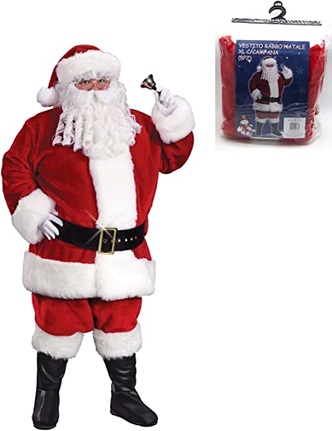Abito Babbo Natale.Peragashop Vestito Babbo Natale Xl Con Campana Accessori Abiti Natale Costume Amazon It Casa E Cucina
