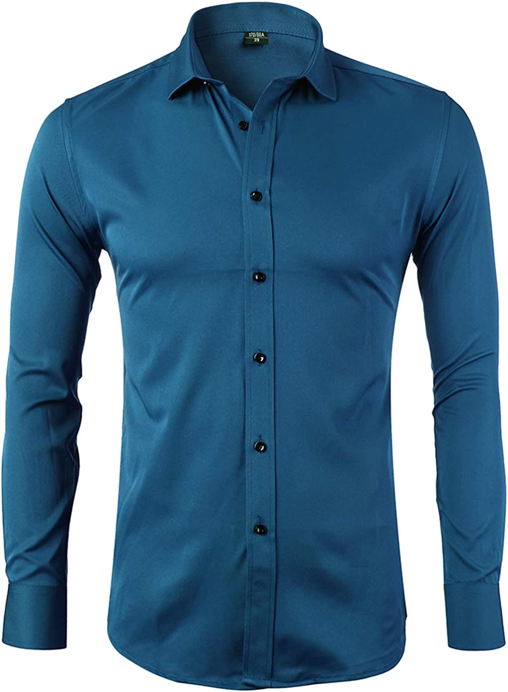 Slim Fit Long Sleeves Elastic Bamboo Fiber Button Down Shirts FLY HAWK Mens Dress Shirts