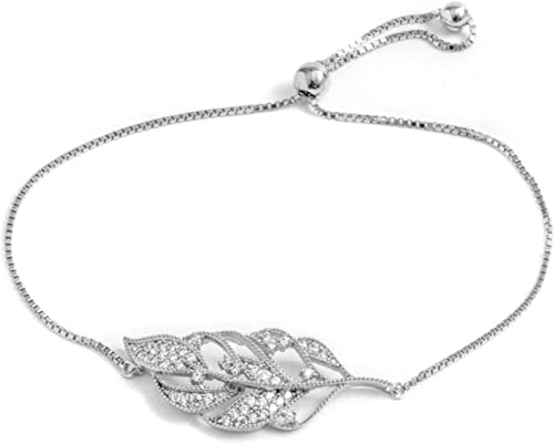 NINAMAID Womens 925 Sterling Silver Bracelet Jewelry Adjustable Women Cubic Zirconia Bolo Bracelet with Sparkling Round-Cut Zirconia in White Gold Plated Gifts for Women Teen Girls