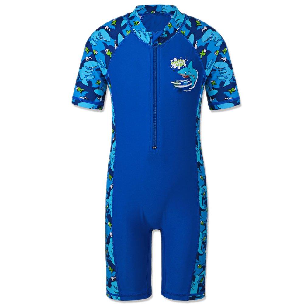 HUANQIUE Boys One Piece Short Sleeve Fish UPF50+ Rash Guard Swimsuit Navy 8-10 Years