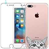 Funda iPhone 7 Plus, iPhone 8 Plus Caso de Gel de Silicona Transparente para TPU Custodia [con Protector de Pantalla de Vidrio Templado] para iPhone 7 Plus/iPhone 8 Plus - Cat
