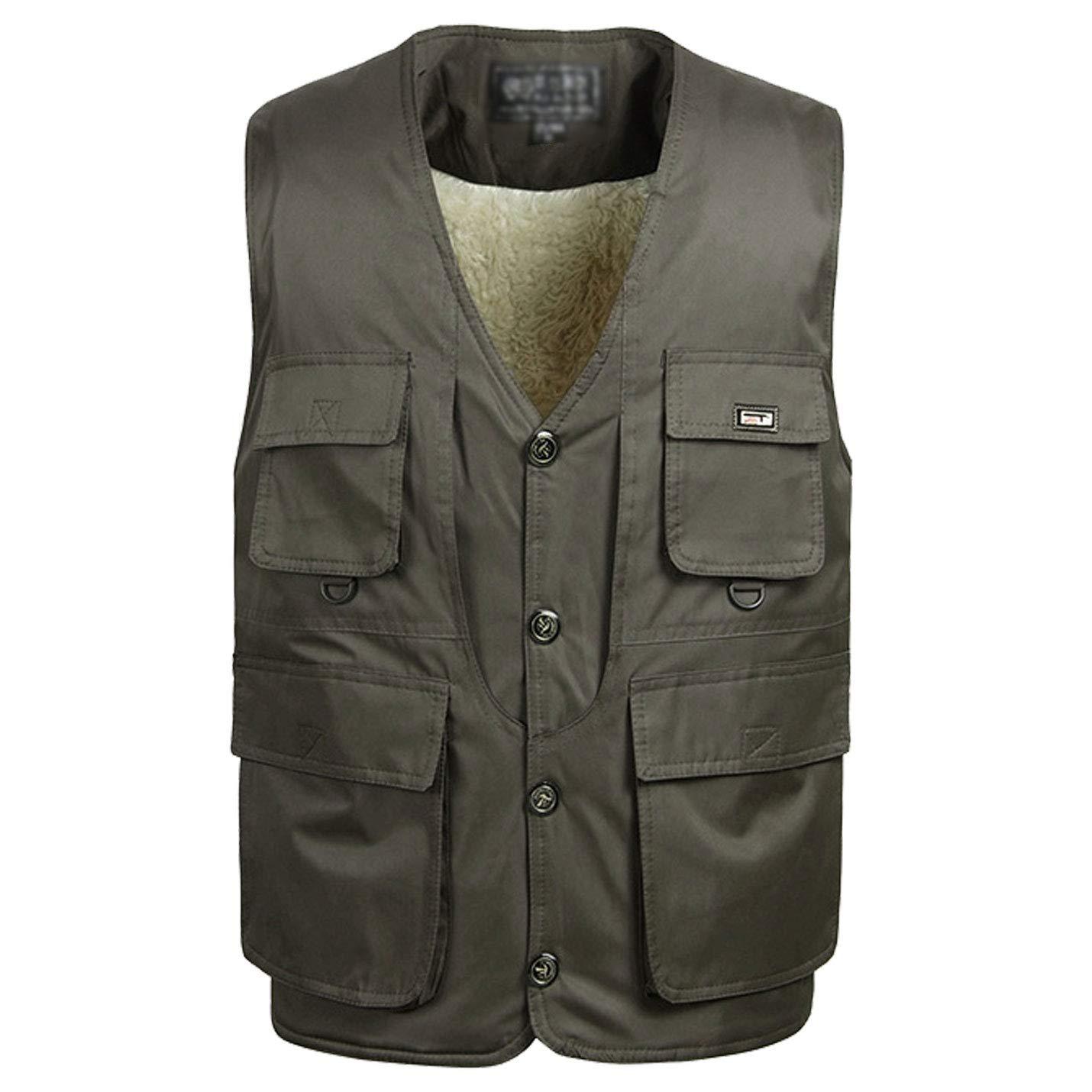 Flygo Men's Casual Warm Fleece Lined Multi Pockets Outdoor Work Fishing Travels Vest