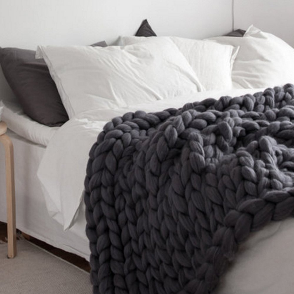 Dark Grey Large Knitted Chunky Blanket,Super Chunky Blanket,Wool Handmade Bed Throw,Xmas New Year Gift