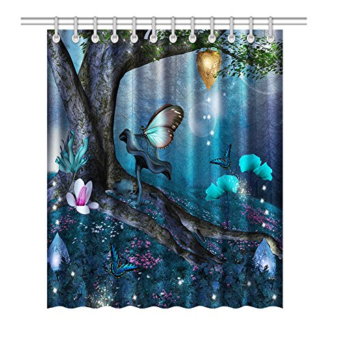 Bnxbb Mildew Resistant Anti-Bacterial Waterproof Fluorescent Butterfly Shower Curtain , 72