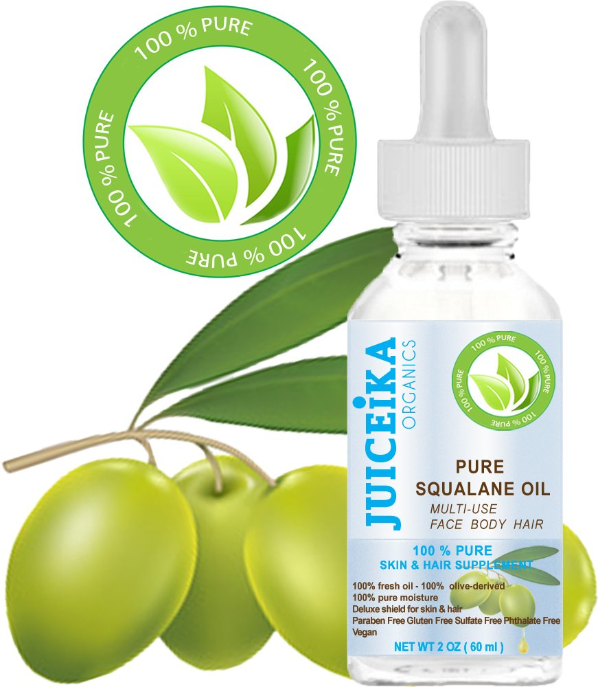 PURE SQUALANE OIL 100% Pure Moisturizer for Face, Body, Hair, Lip and Nail Care. 2 Fl.oz.- 60 ml. by Juiceika Organic