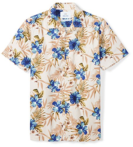 28 Palms Men's Standard-Fit 100% Cotton Tropical Hawaiian Shirt, Tan/Blue Hibiscus Floral, X-Small