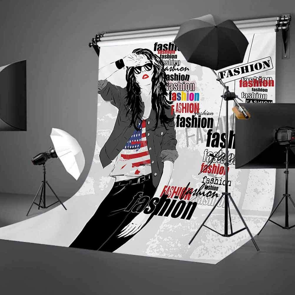 Girls 10x12 FT Backdrop Photographers,Modern Teen Girl with USA Flag T-Shirt Fashion Obsession Beauty in The Street Background for Photography Kids Adult Photo Booth Video Shoot Vinyl Studio Props