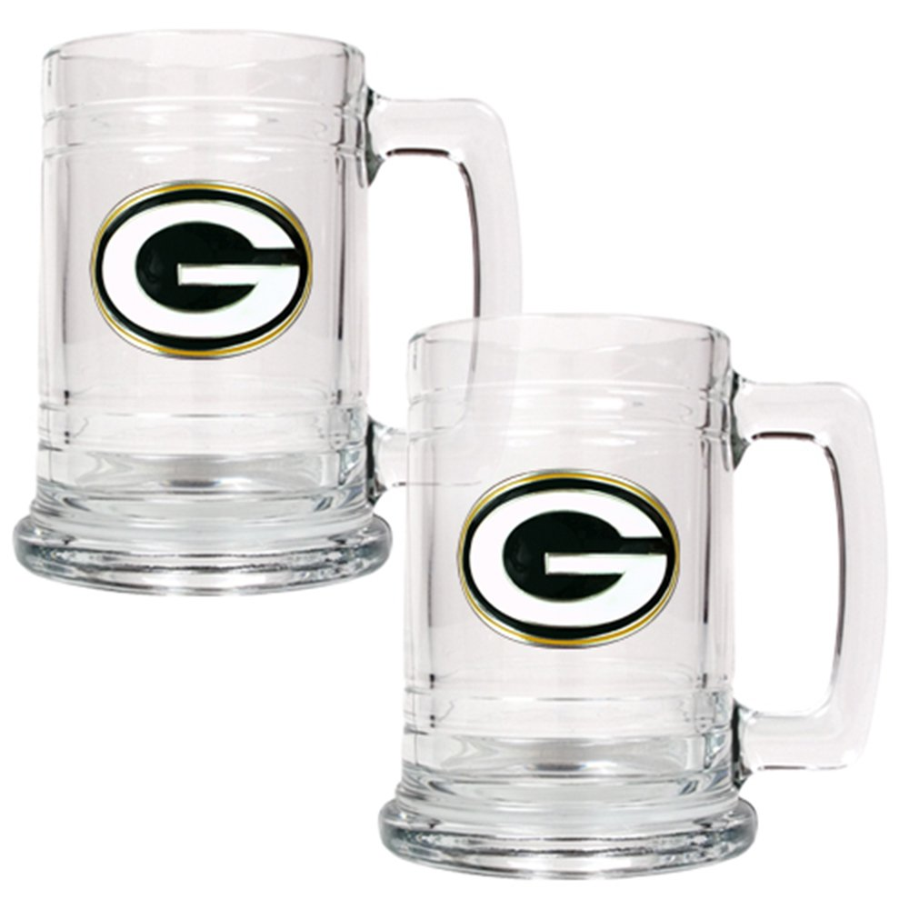 Great American Products NFL Two Piece 15-Ounce Glass Tankard Set- Primary Logo