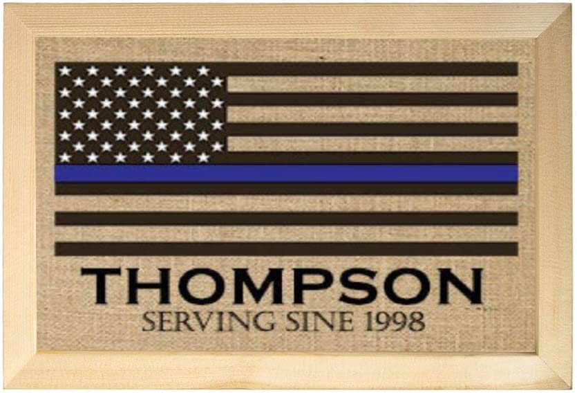 DONL9BAUER Thin Blue Line Family Name Burlap Print Wooden Framed Sign American Flag Police Officer Gift Leo Wall Hanging Rustic Farmhouse Decor Wall Art for Kitchen Living Room