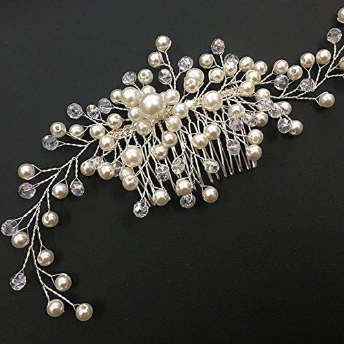 Teekit Femmes Cristal De Mari/ée Faux Perle Peigne Cheveux Morceau DIY Bijoux De Mariage Diad/èmes Accessoires