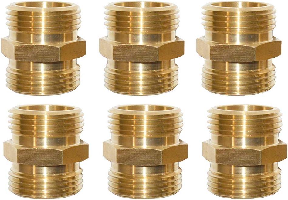 "HQMPC Garden Hose Connector Brass Garden Hose Adapter Male Male 3/4"" GHT Hose Adapter,Garden Hose Connector Male to Male 3/4 Inch GTH Thread, 6-Pack"