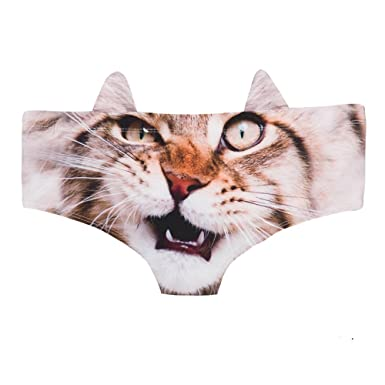 4f20cc519392 Womens' 3D Animal Cat Print Cute Prints Briefs with Ears,Cute Cat 3D Printed