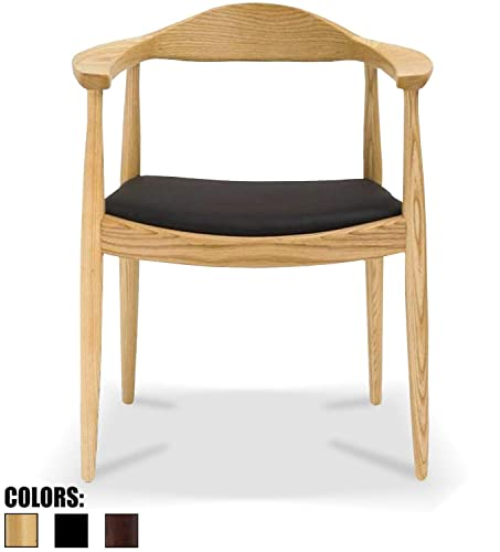 2xhome Natural Mid Century Modern Solid Real Oak Wood PU Leather Cushion Seat Kennedy Accent Chair with Arms Armchair for Kitchen Living Room Dining Desk