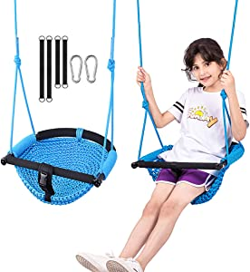 LadyRosian Toddler Swing, Blue Baby Swing for Infants Outdoor, Indoor Swing for Kids with Safety Bar, Hand-Knitting Adjustable Rope Swing Seat, Swing Set for Backyard,Playground,Garden,Home,Tree