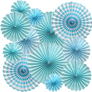 Cdycam Hanging Paper Fans Vibrant Sea Theme Blue Party Decorations, Round Pattern Paper Garlands for Baby Shower/Party/Wedding/Birthday/Festival/Christmas/Event and Home Decor, Set of 12