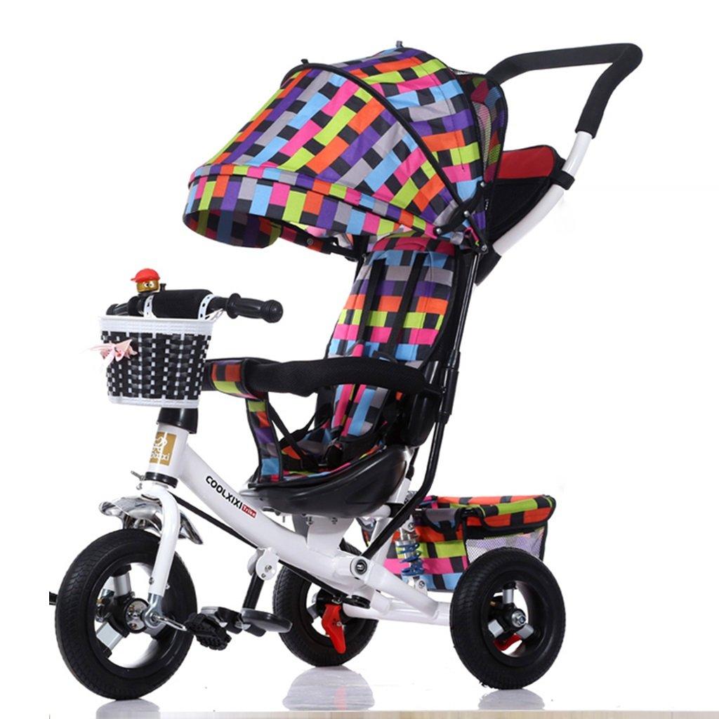HAIZHEN マウンテンバイク 子供の三輪車調整オーニング折り畳み式ショックアブソーバー発泡ホイール自転車1-5歳では安全ベルトダブルバスケットベビーカーでプッシュロッド 新生児 B07DLBXC5P5
