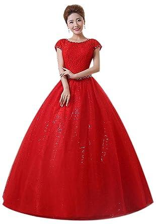 9eea3898fb42 Eyekepper Double Shoulder Floor Length Bridal Gown Wedding Dress Custom Size  Red