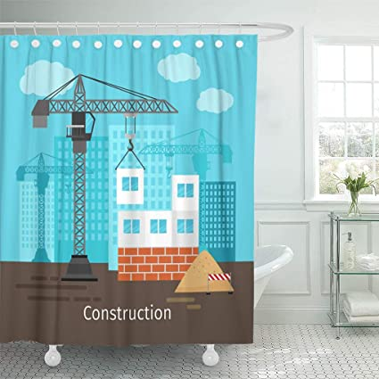 Emvency Shower Curtain Blue Cartoon House Construction Building Crane For Site Red Curtains Sets With