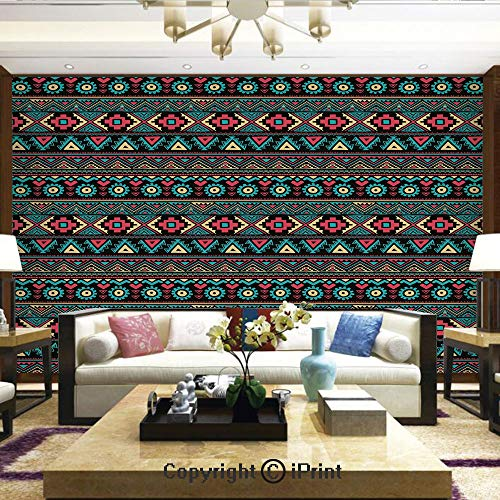 Lionpapa_mural Nature Wall Photo Decoration Removable & Reusable Wallpaper,Eastern Style Ethnic Doodles Native Tribe Art Figures Folk Oriental Art,Home Decor - 66x96 inches
