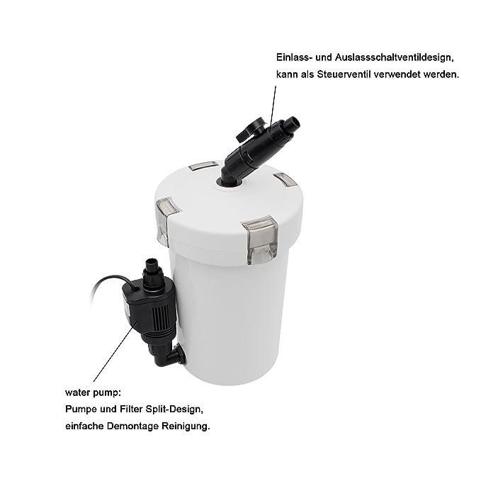 Filtro exterior acuario externo bomba filtro acuario exterior 400L / H hasta 120 litros con 3 esponjas de filtro: Amazon.es: Jardín