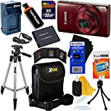 Canon PowerShot ELPH 190 IS Wi-Fi Digital Camera with 10x Zoom & HD video, Red (International Version) + Battery & AC/DC Charger + 10pc 32GB Deluxe Accessory Kit w/HeroFiber Cloth