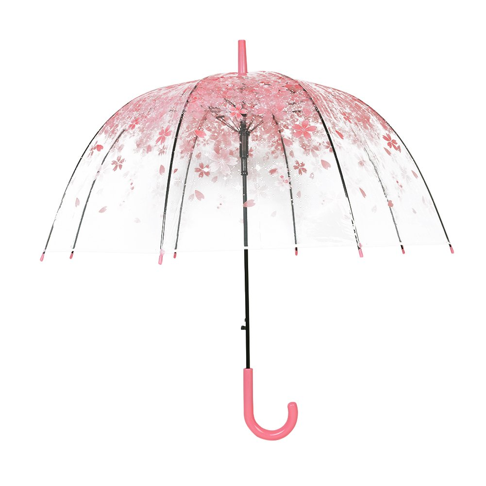 Cherry umbrella, romantic and compact transparent umbrella and rainproof cherry blossom pattern, semi-automatic (pink)