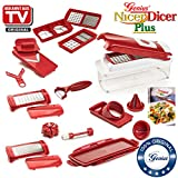 Nicer Dicer Plus by Genius 18 pieces | Fruit vegetable slicer | Food-Chopper PRO| Mandoline | Potato, Tomato, Onion | Kitchen-Cutter Dicer | Stainless Steel |Spiralizer | Spiral Slicer | As seen on TV