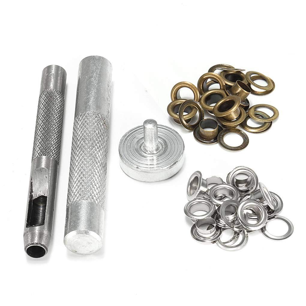 Kongnijiwa Outil de Perforation Die Tool Set avec 10 Argent et 10 Oeillet Set Set cuivre /Œillet pour V/êtements en Cuir Artisanat