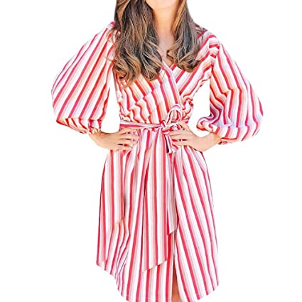 c7846e8b2 Joopee Women Autumn Long Lantern Sleeve Striped V-Neck Lacing Loose Beach  Knee Length Dress