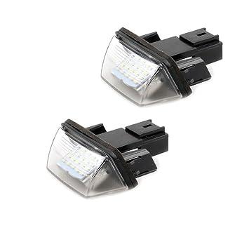 Bombillas LED para matrícula de matrícula para Citroen C3 207 308 406 (2 unidades): Amazon.es: Coche y moto