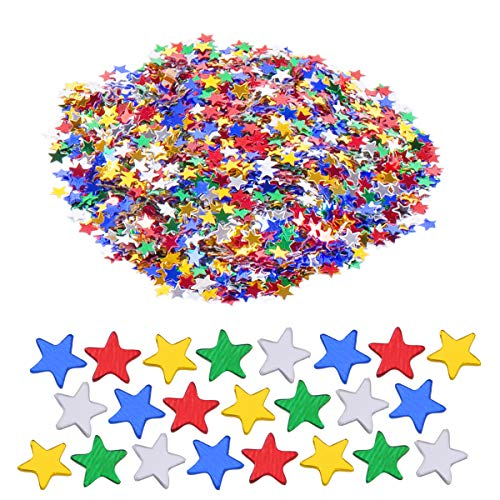 Haley Party Multicolored Star Confetti Star Glitter for Crafts DIY Nail Art Birthday Wedding Party Decoration Confetti Poppers (0.2in/0.6cm, Multicolor, 1oz) ()