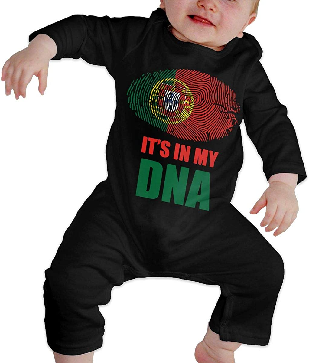 Portugal Its in My DNA Printed Boys Girls One-Piece Suit Long Sleeve Romper Black