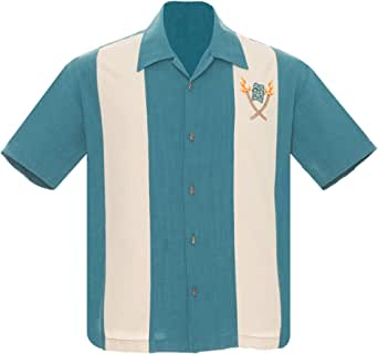 Steady Clothing Men's Tropical Itch Tiki Button Up Bowling Shirt Teal 2XL