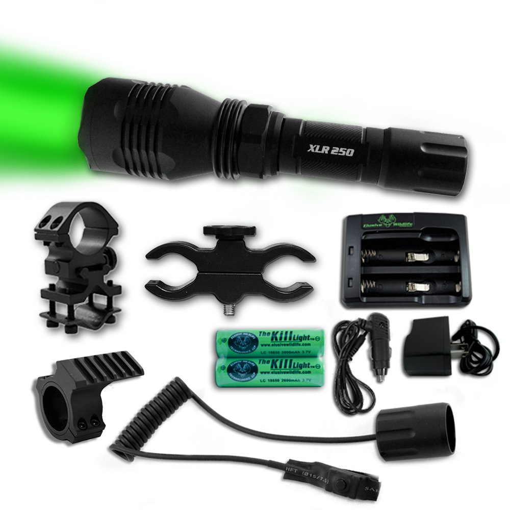 The Kill Light XLR250 Gun Mounted Hunting Light, Green, Single Mode, On/Off Switch by Elusive Wildlife