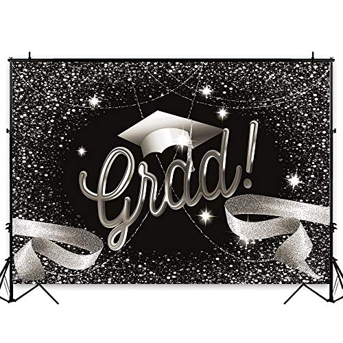 - Funnytree 7X5FT Durable Fabric 2019 Class Graduation Black and Silver Photography Backdrop Prom Bachelor Cap Ribbon Grad Celebration Party Banner Background for Picture Photo Photobooth Decoration