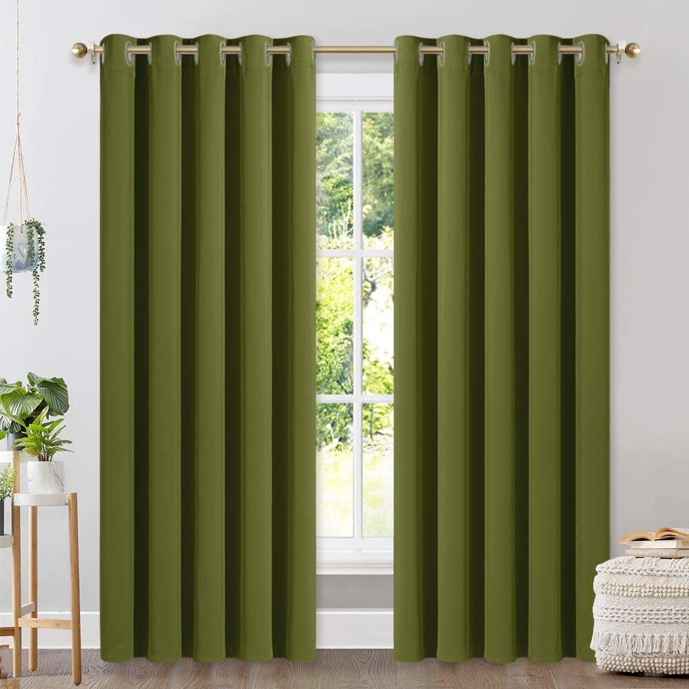NICETOWN Window Curtain Panels, Thermal Insulated Solid Grommet Blackout Draperies/Drapes on Christmas & Thanksgiving (One Pair, 70 by 84-inch, Olive Green)