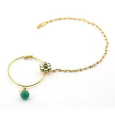 92ba1c75f7c53 Buy Anvi's big size khundan nose ring in floral design with gold ...