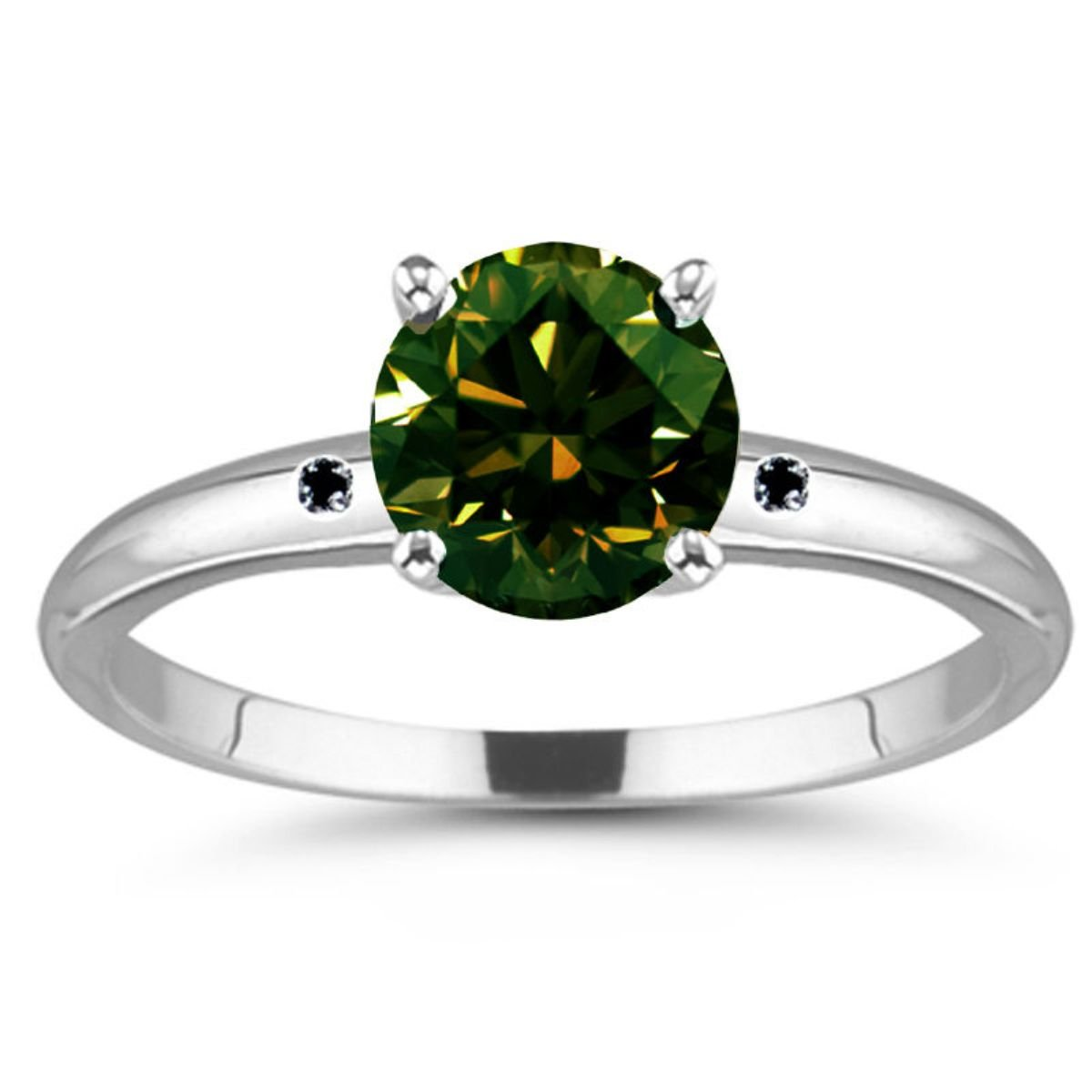 RINGJEWEL 4.20 ct VS1 Round Real Moissanite Solitaire Silver Plated Engagement Ring Green Color Size 7