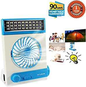 Portable Fan Solar Mini Fan LED Table Lamp 3 in 1 Multi-Function Eye-Care Flashlight Light for Home Camping Solar Cooling Fans (Blue)