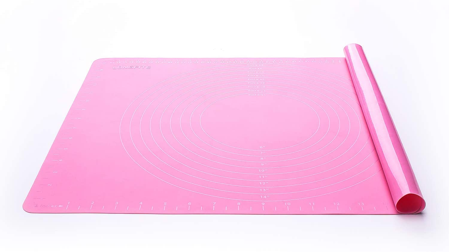 Silicone Baking Mat for Pastry Rolling Dough Mats Large Nonstick and Nonslip with Measurements,Dining Table Placemat 20'' by 16'',Pink