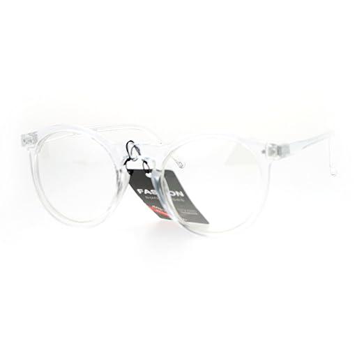 Amazon.com: SA106 Clear Plastic Frame Round Keyhole Eye Glasses ...