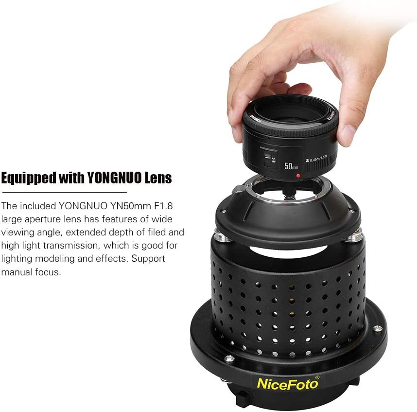 Mivitar NiceFoto SN-29 Flash Light Concentrator Conical Snoot Video Light Art Styling with YONGNUO YN50mm F1.8 Lens Bowens Mount Accessories