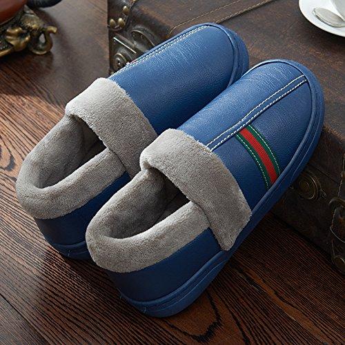 Y-Hui Feng Pu impermeable pareja invierno zapatillas hombres Bolsa de algodón con un interior Home Furnishing espeso caliente inferior antideslizante Tibet Navy