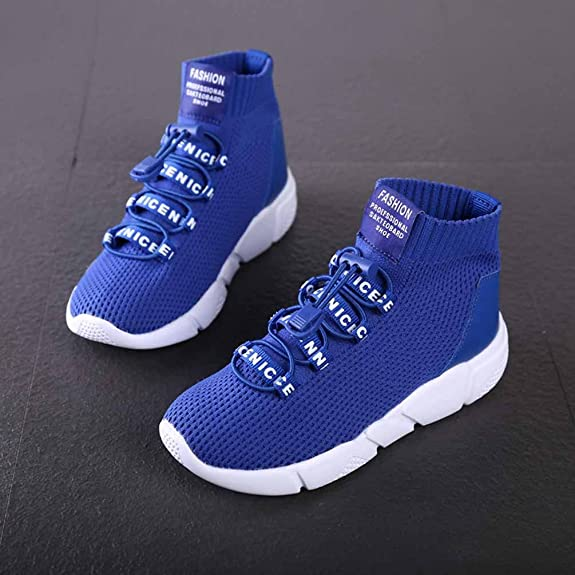 Boys Girls Sneakers High-Top Lace-up Anti-Slip Outdoor Atmungsaktive Sport Flyknit Running Trainer für 1-16 Jahre rqBNrfe