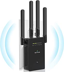 【2021 Upgraded】 WiFi Extender WiFi Range Extender Wireless Internet Booster 300Mbps Cover up to 3000 sq.ft&10 Device Wireless Signal Booster Repeater Ethernet Port Extend Internet WiFi (Black)