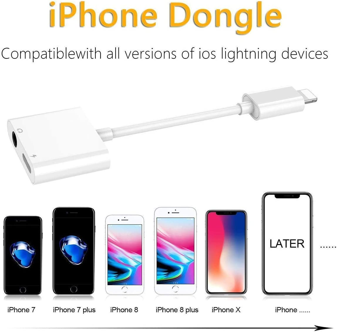 Headphone Jack Adapter Dongle for iPhone 11//Xs//XR// 8//X //7 Lightning to 3.5 mm Headphone Jack Adapter Apple MFi Certified 2 in 1 Earphone Audio/&Charger Splitter Adapter Connector Jack Accessories