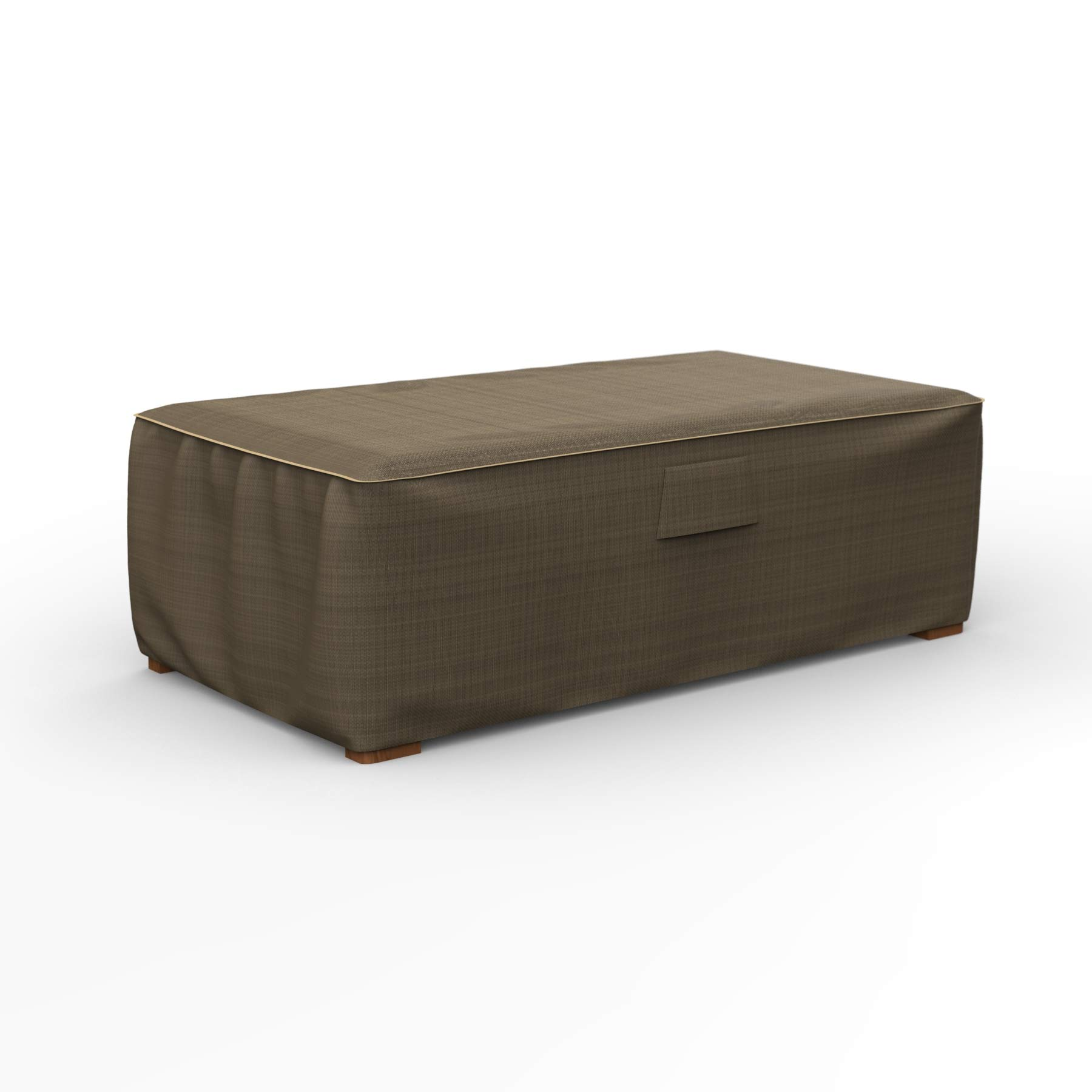 EmpireCovers NeverWet Platinum Outdoor Ottoman Cover, 18'' H x 33'' W x 25'' L (Black and Tan Weave)